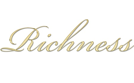 richness written in gold letters Stock Photo - 11326471
