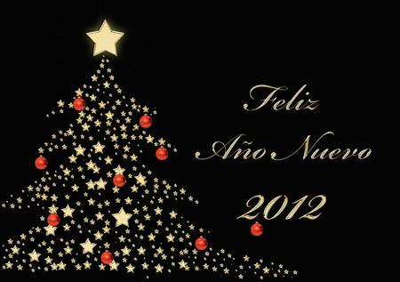 Feliz A�o NUevo 2012 in gold Stock Photo - 11583940