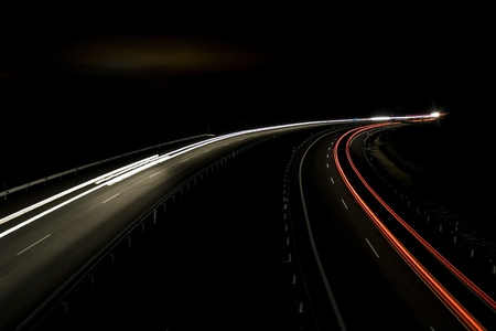 road shoulder: Night traffic lights