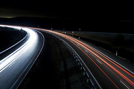 Tráfico nocturno, night traffic Imagens