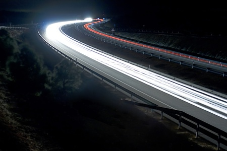 Speed lights at night photo