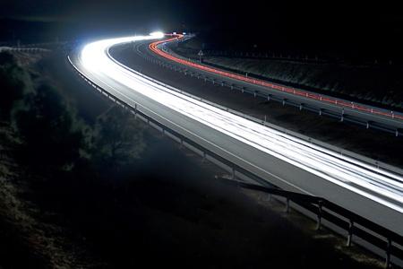 Speed lights at night photo