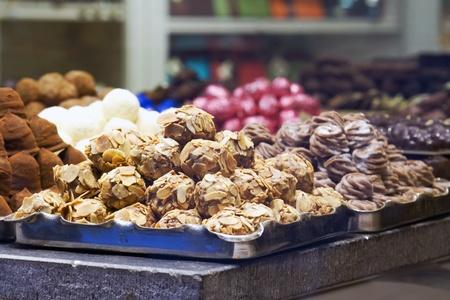 Chocolates in a showcase