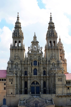 cathedral: Front view of Santiago de Compostela Cathedral Stock Photo