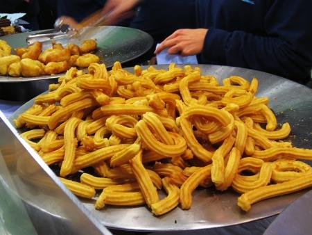 Churros, typical Spanish breakfast Stock Photo