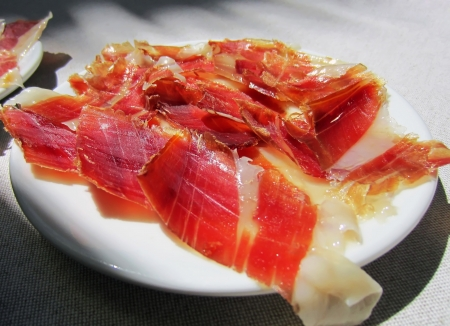 Some slices of Spanish Jabugo Ham photo