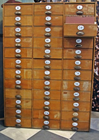 Library File Cabinet with Old Wood Card Drawers  photo