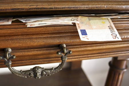 household money: Open drawer full of  fifty euro bank notes Stock Photo