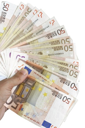household money: Hand holding a fan made of fifty euro paper money