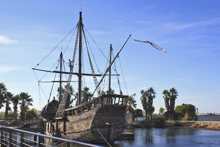 pirate crew: Carabela La Pinta in La Rabida Spain one of Christopher Columbus ships Stock Photo