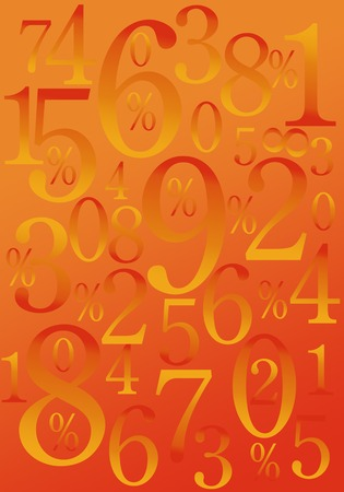 numbers background: Numbers on a red and orange background
