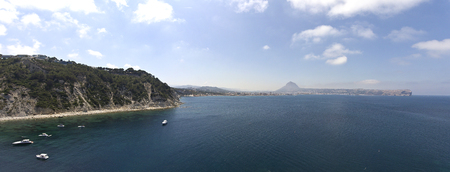 Aerial panoramic view of Javea Bay, in Alicante (Spain)