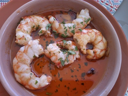 Jumbo Shrimp with garlic typical spanish Top