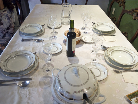 Close up view of a complete luxury porcelain table set