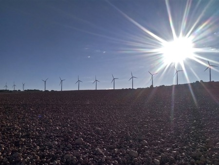 Sunshine over the windmills Imagens