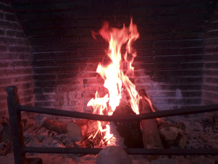 Bonfire in the fireplace Imagens