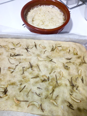 Garlic and rosemary focaccia with provolone cheese