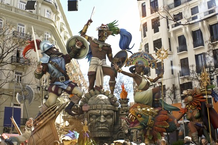 Las Fallas, papermache models displayed during traditional celebration in praise of St Joseph. March 15, 2018 in Valencia, Spain Редакционное
