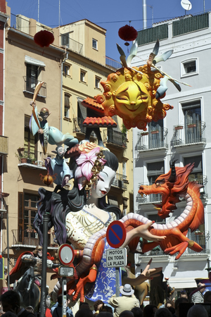 Las Fallas, papermache models displayed during traditional celebration in praise of St Joseph. March 15, 2018 in Valencia, Spain Imagens