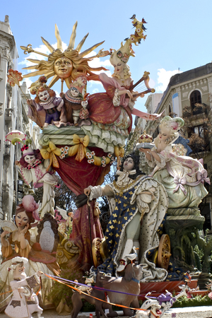 Las Fallas, papermache models displayed during traditional celebration in praise of St Joseph. March 15, 2018 in Valencia, Spain Editorial
