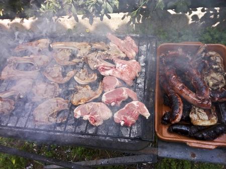 Lamb chops and pork meat BBQ Imagens