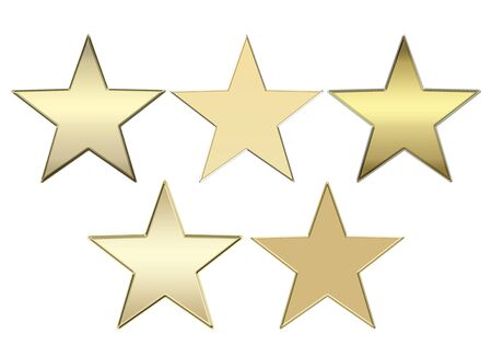 Illustration of five different isolated gold stars on a white background