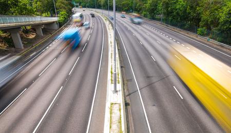 Traffic on urban highway of Hong Kong