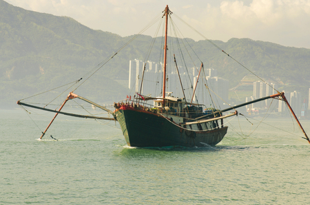 Fishing boat on working