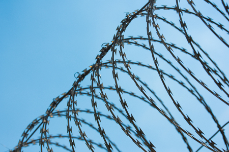 electric grid: Barbed wire fence with blue sky background