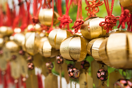 Golden amulets at Buddhist temple in Hong Kong