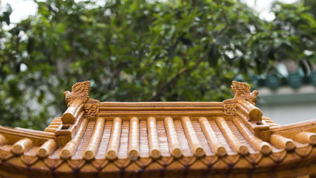 Ancient Temple architecture: Temple Roof Stock Photo