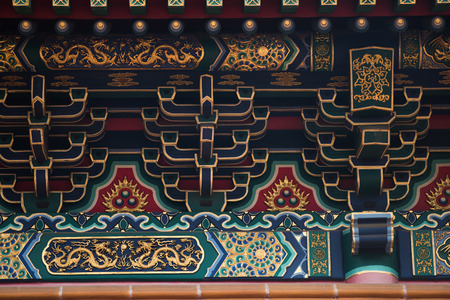 Ancient Temple architecture: Colorful eaves Editorial