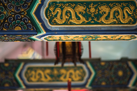 Ancient Temple architecture: Colorful eaves 에디토리얼