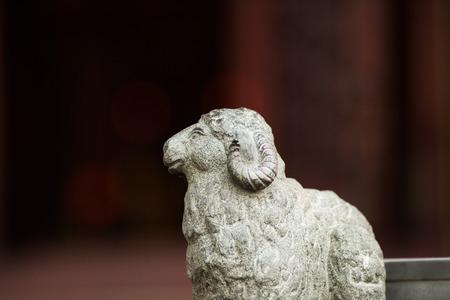 Sheep sculpture on railing in Wong Tai Sin