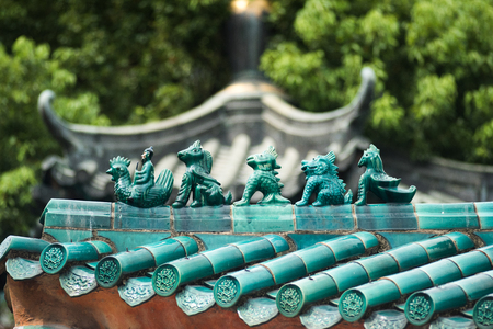 Close up traditional animals on Ancient Temple architecture Stock Photo