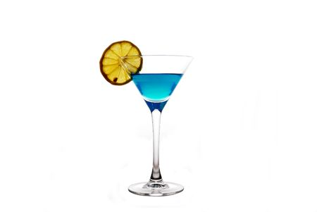 backlite: glass with blue drink Stock Photo