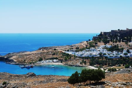 lindos: vew on Lindos, greek village on Rhodes island
