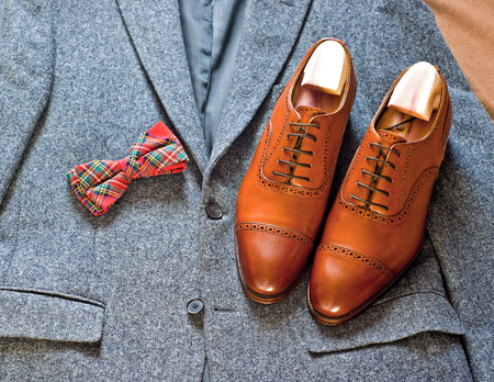 leather mens shoes and tweed jacket
