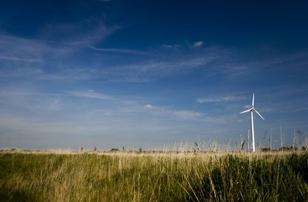 watts: Lone Wind Turbine in a Field Stock Photo