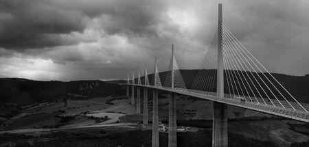 millau: The Millau Bridge Up Close Monochrome