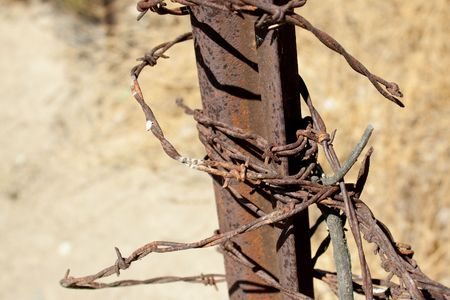 A close-up shot of a knotted tangle of rusty barbed wire attached to an old post in southern California. photo