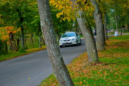 White racing car in autumn road