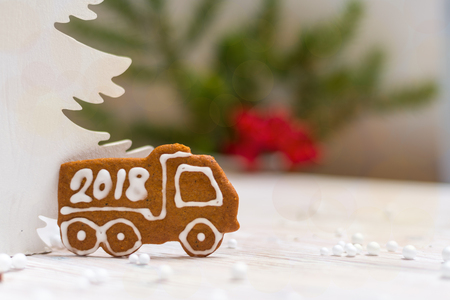 New Year decoration gingerbread truck with Year 2018 Stock Photo