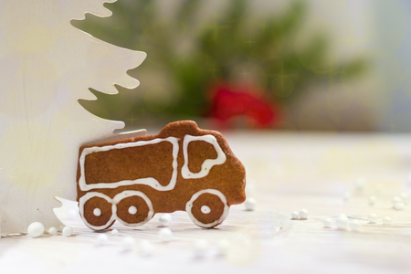 New Year decoration gingerbread truck Imagens