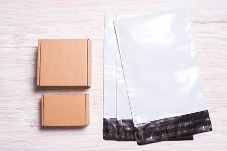 Postal envelopes with box Stock Photo