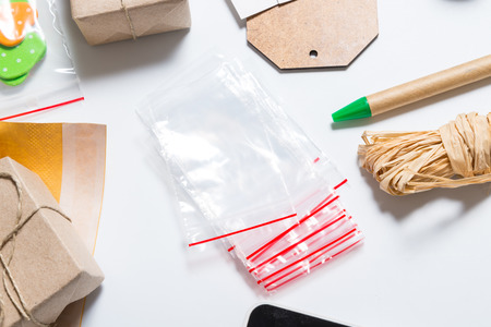 Poly bags with zip lock Stock Photo