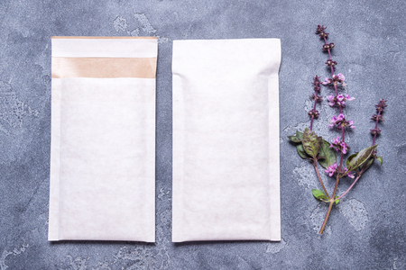 White paper padded bubble envelope Stock Photo