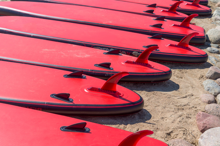 Lot of red surfboards