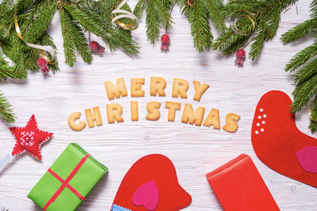 Biscuit letters, Merry Christmas Stockfoto