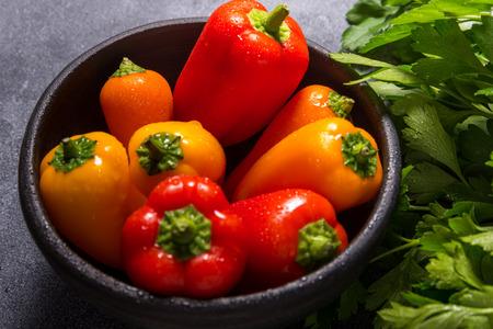 Set of fresh mini paprika